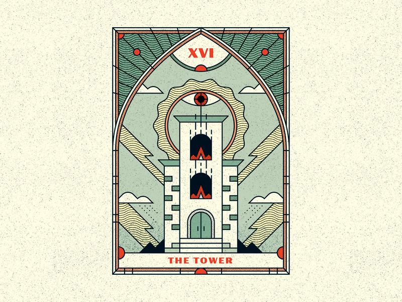 Tower Tarot lightning eye destruction card tarot tower retro vintage design texture vector illustrator illustration