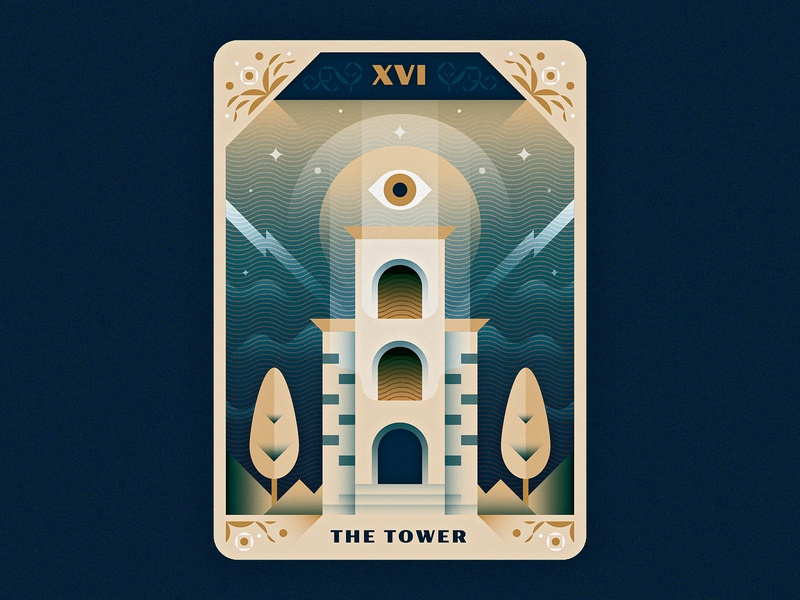 Tower Tarot - Rework photoshop destruction ornament lightning eye 16 xvi tower occult tarot design texture illustrator vector illustration