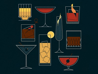 Cocktails rob roy old fashioned negroni martini sazerac gin vodka whiskey bourbon cocktail alcohol modern midcentury midmod texture illustrator vector illustration