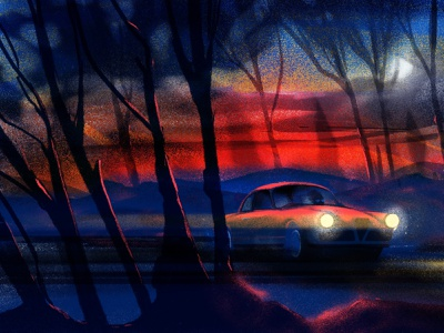 night drive mood contrast coupe car driving trees forest night dusk ipad drawing procreate illustrator illustration