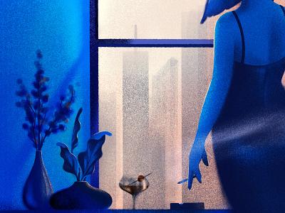 apartment window editorial ipad procreate blue contrast mood dress cigarette city skyline light window fiddle leaf vase plant manhattan cocktail woman illustrator illustration