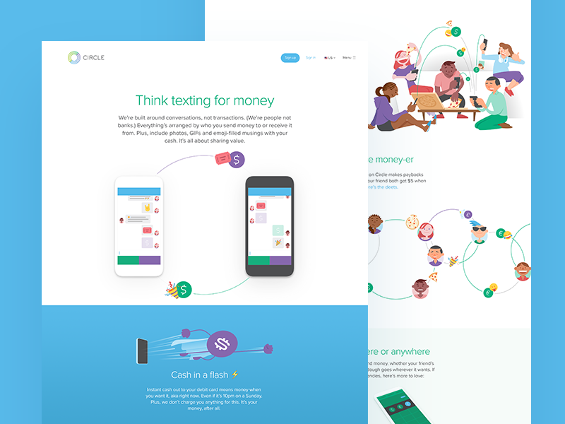 Circle Pay Features landing page features pay illustration