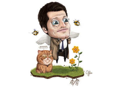 Supernatural - Lil' Castiel gülce baycık gulce baycik art digital illustration misha collins castiel spn supernatural