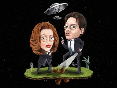 Lil' Scully & Mulder gülce baycık gulce baycik digital art illustration fan art extraterrestrial ufo aliens smoking man mulder scully xfiles