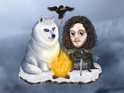 Lil' Jon Snow digital art illustration gülce baycık gulce baycik bringjonsnowback game of thrones got jon snow