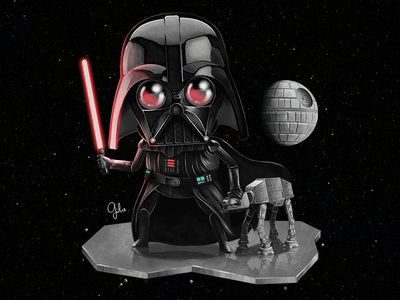 Lil' Darth Vader the force awakens fan art illustration gulce baycik gülce baycık anakin skywalker the dark side light saber imperial walker death star darth vader star wars