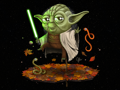 Lil' Yoda jedi fan art illustration gulce baycik gülce baycık the light side light saber yoda star wars