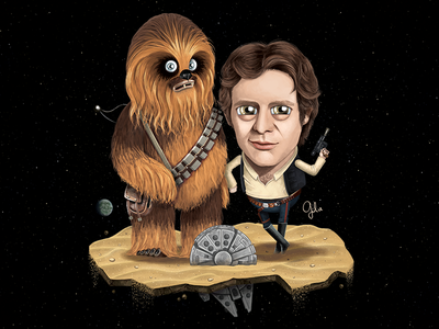 Lil' Chewie & Han Solo the force awakens fan art illustration gulce baycik gülce baycık chewie chewbacca han solo star wars