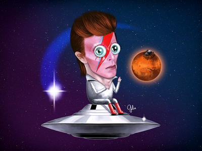 Lil' David Bowie space david bowie ziggy stardust aladdin sane alien illustration mars spiders from mars fan art shooting star gulce baycik gülce baycık