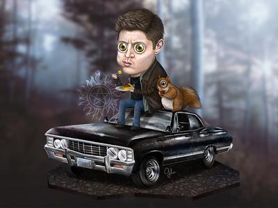 Lil' Dean art gulce baycik gülce baycık illustration tattoo squirrel impala winchester dean supernatural