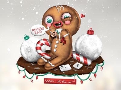 Crazy Christmas snow candy gingerbread man christmas gülce baycık gulce baycik art illustration