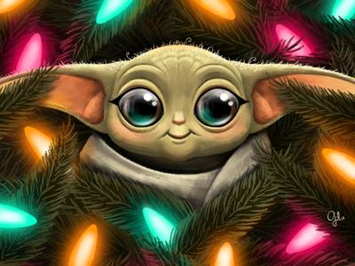 Baby Yoda design digital gulce baycik gülce baycık digital art fan art concept art 2d art illustration star wars merry new years christmas baby yoda yoda