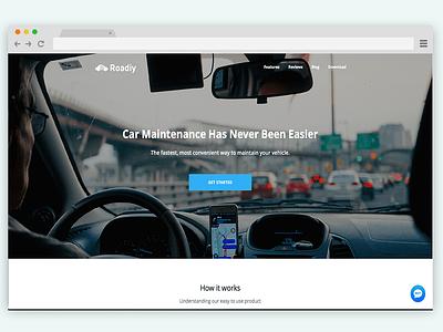 Roadiy Landing Page Design landing page automotive design automotive website design web design product page single page website landing page design