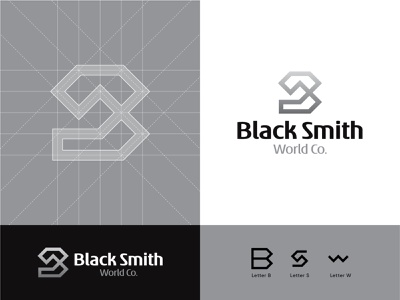 Black Smith World Co. logo grids black blacksmith black  white typography logomark illustration minimal logotype logodesign branding contemporary instagram abdullah designs