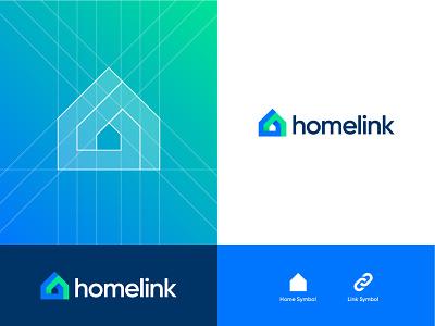 Home Link green blue graphic design logo design design logo house link home logotype contemporary branding logodesign instagram abdullah designs