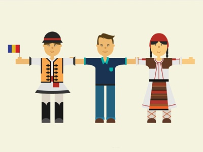 Welcome to Romania, my friend! fabrice grinda painting gift illustration romania folk costumes brohouse