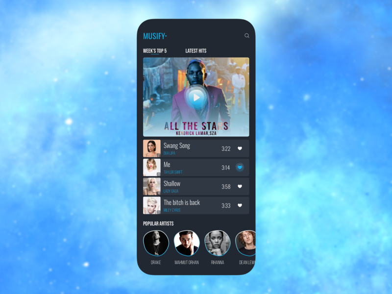 Musify music app app design hits songs sketch uiux ux ui playlist music player player play artist artists music app musify music