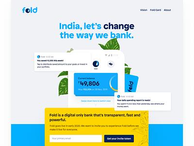 Fold (dot) money fintech fintech app app design ux ui landing logo branding typography illustration landingpage
