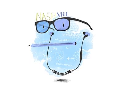 Self portrait face card about earphones jaybirds pencil glasses face illustration