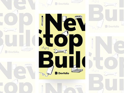 Never Stop Building - Notebook illustration typography mockup notebook graphic design