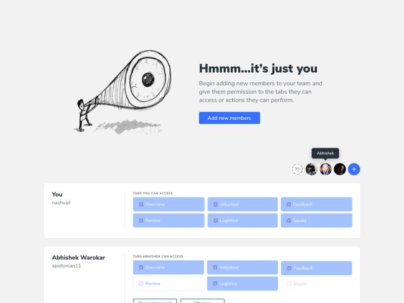 Team view minimal modal new add sketch design tabs team ui illustration