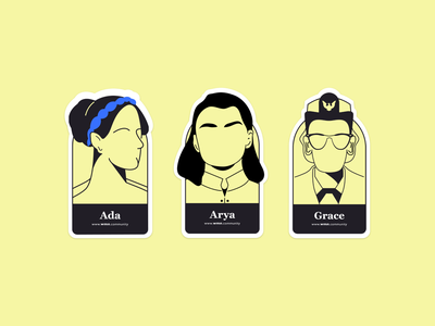 Women Stickers black and yellow yellow vector sticker design stickers illustration
