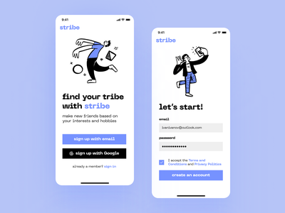 DailyUI 001 — Sign Up screen for Stribe app ux ui lavender blue iphone mobile mobile app app friends sign in sign up challenge dailyui
