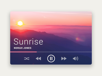 Music Player day009 ux ui player media song web widget music sunrise flat dailyui