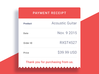 Email Receipt-Day 17 ux ui design red flat sold guitar receipt email day017 dailyui