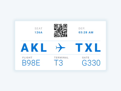 Boarding Pass - Day24 ux ui design white plane blue qr boarding pass day024 dailyui