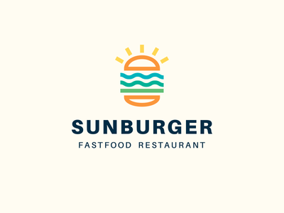 Sunburger burger logo logodesign logotype logo fastfood beach sea sun burger