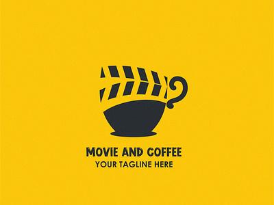 movie and  coffee branding abstract character design design vector modern brand logo cinema coffee movie