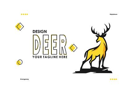 DEER illustration abstract creative brand yellow vector branding deer logo animal modern logo