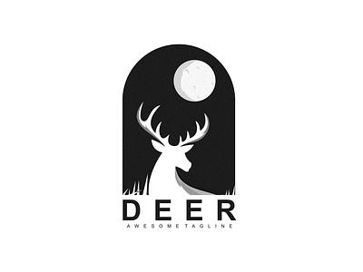 deer moon creative illustration branding vector design deer logo animal brand modern logo