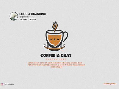 COFFE &  CHAT illustration design business creative brand branding vector coffee drink modern logo