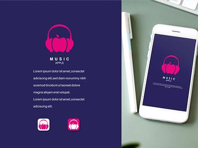 Music and apple character design apple music music app creative design branding vector brand modern logo