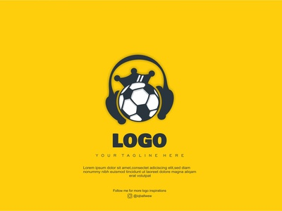 Music Football yellow modern creative design soccer football music vector branding brand logo