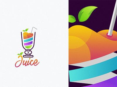 Juice abstract creative design fruit fresh business vector branding brand modern logo