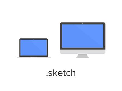 Flat MacBook Pro and iMac (freebie) free freebie mac macbook imac apple flat sketch download