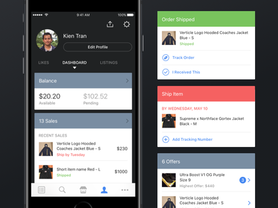 Restocks User & Seller Profile status profile dark ios iphone ui cards