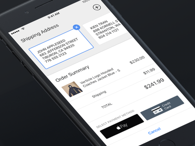Restocks Checkout & Shipping apple pay check out address payment light shipping ui