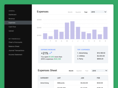 Infin Accounting expenses page