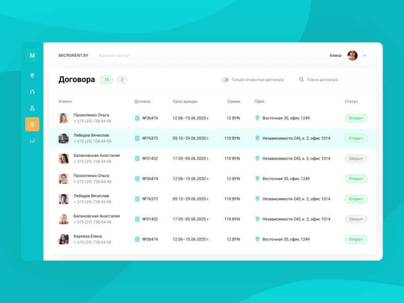 Admin Panel for MicroRent 🎧 clean ui turquoise admin panel table design interface ui web concept