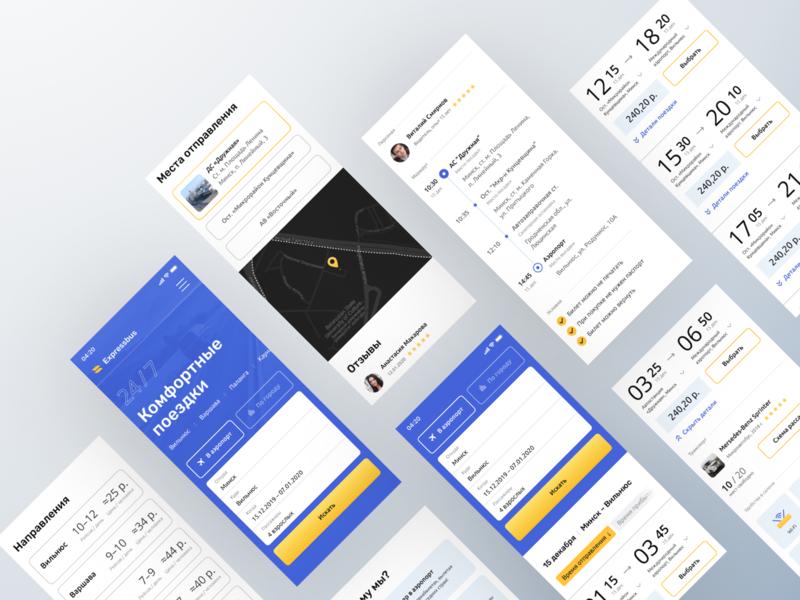Passenger transportation concept – responsive booking passenger trip transportation responsive design card clean ui blue web ui interface concept