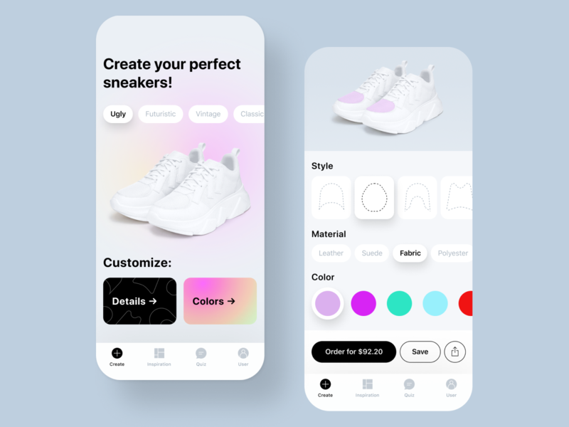 Sneaker Maker App clean grey interface concept ios application clean ui ui design sneakers app constructor customize