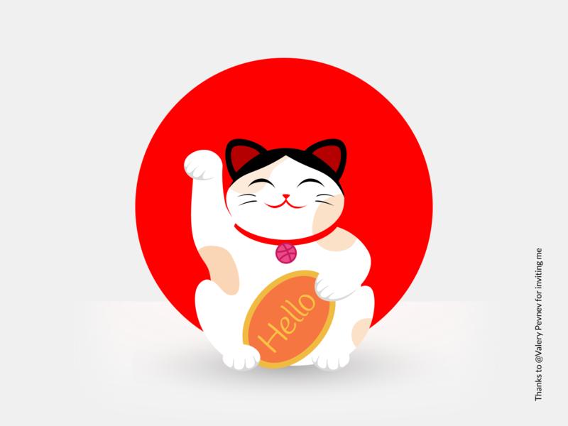 Hello Dribbble! maneki neko illustration dribbble drawing red animal art cute vector illustration cat hellodribbble