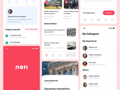 Noti - all-in-one onboarding, news and time management platform news app contacts branding logo internal platform minimalism minimalistic clean ux ui android ios time management onboarding news noti mobile app