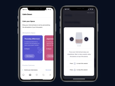 """An app to control your """"smart assisting"""" Calmi device iot internetofthings sound light control cards ui app design clean ui clean minimalism minimalistic cards smarthome calmi ios android ux ui mobile app"""