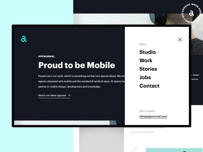 Appnormal Mobile Agency landing mobile development agency design agency branding minimalist minimalistic simple modern ux ui webdesign web agency portfolio studio