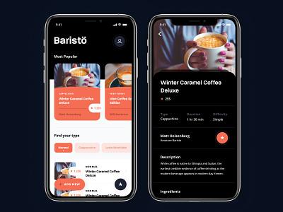 Baristö - A community-based coffee sharing platform discovery checklist ingredients recipe app recipe ui ux platform sharing android ios app mobile community coffee